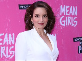Tina Fey arrives on opening night of the Broadway musical Mean Girls at the August Wilson Theatre in New York.