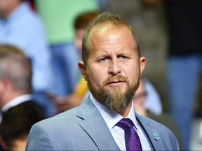 In this file photo taken on October 2, 2018 Trump campaign manager Brad Parscale is seen before the start of a rally at Landers Center in Southaven, Mississippi.