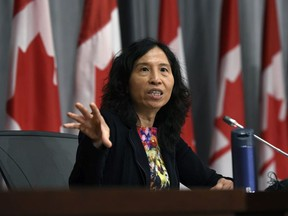 Chief Public Health Officer of Canada Dr. Theresa Tam speaks at a news conference on the COVID-19 pandemic on Parliament Hill in Ottawa, on Tuesday, July 28, 2020.