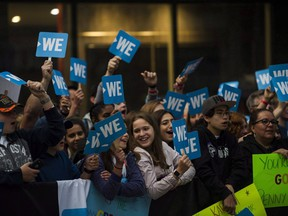 A crowd gathers before the WE Day red carpet in Toronto, on Thursday, Sept. 20, 2018.