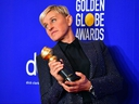 Ellen DeGeneres poses in the press room with the Carol Burnett award during the 77th annual Golden Globe Awards on January 5, 2020 in Beverly Hills.