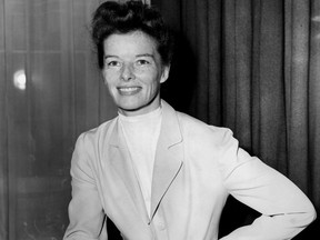 Portait of the actress Katharine Hepburn at a reception in London, April 6, 1951.