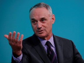 Rob Manfred, commissioner of Major League Baseball, takes part in the Yahoo Finance All Markets Summit in New York February 8, 2017.