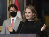 Prime Minister Justin Trudeau looks on as Deputy Prime Minister and Finance Minister Chrystia Freeland responds to a question during a news conference on Parliament Hill in Ottawa, Tuesday, Aug. 18, 2020. THE CANADIAN PRESS/Adrian Wyld