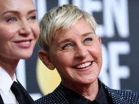 Actress Portia de Rossi, left, and comedian Ellen DeGeneres arrive for the 77th annual Golden Globe Awards on Jan. 5, 2020, at The Beverly Hilton hotel in Beverly Hills, Calif.