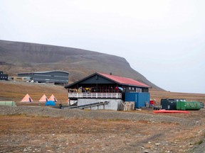 A picture taken Friday, Aug. 28, 2020 outside Longyearbyen, Norway, shows a view of a camp site, where a man died after being attacked by a polar bear.