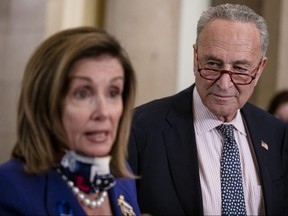 Speaker of the House Nancy Pelosi (D-CA) and Senate Minority Leader Chuck Schumer (D-NY) speak to reporters on July 30, 2020 in Washington.