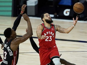 Raptor Fred VanVleet had a big game against the gritty Miami Heat on Monday. GETTY IMAGES