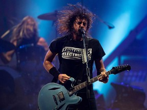 US singer and guitarist Dave Grohl of US rock band Foo Fighters performs onstage during the Rock in Rio festival at the Olympic Park, Rio de Janeiro, Brazil, on September 28, 2019.