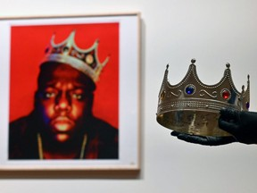 The crown worn by rapper Christopher Wallace, also known as The Notorious B.I.G. when photographed as the King of New York, is displayed during a press preview at Sotheby's for their Inaugural HIP HOP Auction in New York City, Thursday, Sept. 10, 2020.