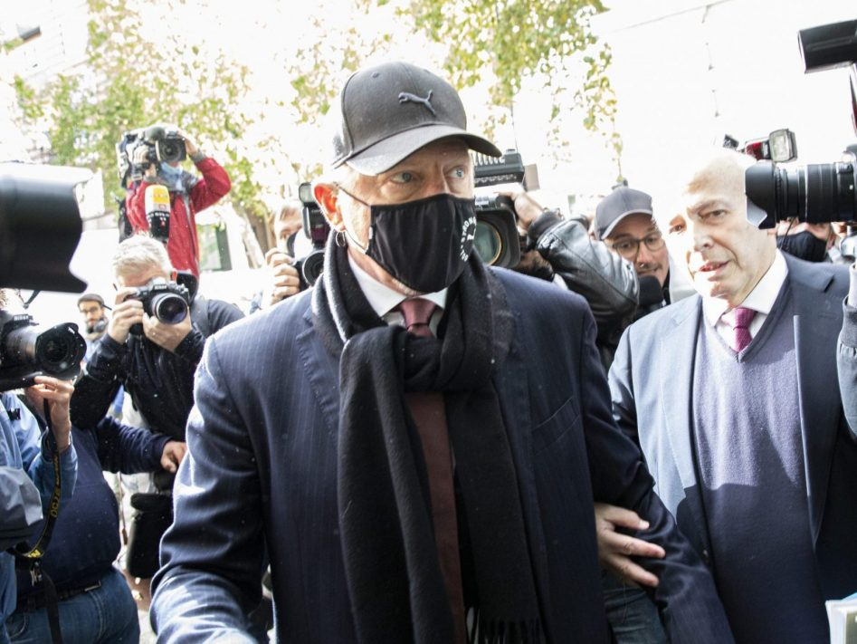 Boris Becker arrives for his insolvency hearing at The City of Westminster Magistrates Court in London, England, Thursday, Sept. 24, 2020.