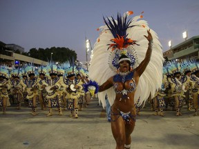 Drum queen Bianca Monteiro of Portela samba school performs during the first night of the Carnival parade at the Sambadrome in Rio de Janeiro, Brazil February 24, 2020.