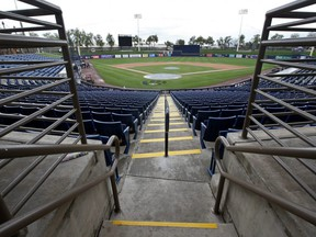 General view of American Family Fields stadium in Phoenix, spring training home of the Milwaukee Brewers, following MLB's decision to suspend all spring training games due to the coronavirus, on March 12, 2020.