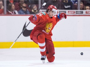Russia's Alexander Romanov celebrates his goal against Denmark during the World Junior Hockey Championship in Vancouver on Dec. 27, 2018.