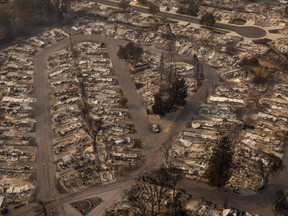 In this aerial view from a drone, homes destroyed by fire are shown on September 10, 2020 in Phoenix, Oregon.