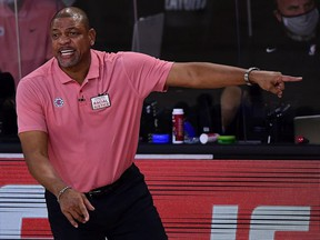 Doc Rivers of the LA Clippers reacts during the first quarter against the Denver Nuggets in Game Seven of the Western Conference Second Round during the 2020 NBA Playoffs at AdventHealth Arena at the ESPN Wide World Of Sports Complex on September 15, 2020 in Lake Buena Vista, Florida.