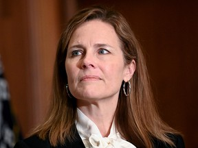 Judge Amy Coney Barrett, President Donald Trump's nominee to the Supreme Court, attends a meeting with Senator Kevin Cramer (R-ND) on Capitol Hill in Washington  October 1, 2020.