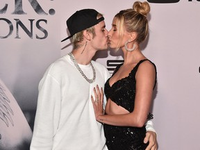 """Justin Bieber and Hailey Bieber attend the premiere of YouTube Original's """"Justin Bieber: Seasons"""" at the Regency Bruin Theatre on January 27, 2020 in Los Angeles."""