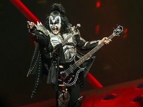 Singer-bassist Gene Simmons of KISS performs during The End of the Road World Tour at the Scotiabank Arena in Toronto on Wednesday March 20, 2019.