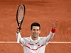 Serbia's Novak Djokovic celebrates after winning against Colombia's Daniel Elahi Galan at the end of their men's singles third round tennis match on Day 7 of The Roland Garros 2020 French Open tennis tournament in Paris on October 3, 2020. (Photo by Anne-Christine POUJOULAT / AFP) (Photo by ANNE-CHRISTINE POUJOULAT/AFP via Getty Images)