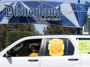 Coalition of Resort Labor Unions representing Disney cast members stage a car caravan outside Disneyland California, calling for higher safety standards for Disneyland to reopen during the global outbreak of the coronavirus disease (COVID-19) in Anaheim, California, U.S., June 27, 2020.