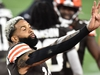 Oct 11, 2020; Cleveland, Ohio, USA; Cleveland Browns wide receiver Odell Beckham Jr. (13) holds up four fingers to signify four wins for the Browns late in the fourth quarter against the Indianapolis Colts at FirstEnergy Stadium. Mandatory Credit: Ken Blaze-USA TODAY Sports ORG XMIT: IMAGN-426766