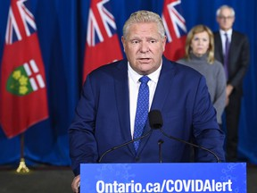 Ontario Premier Doug Ford holds a press conference during the COVID-19 pandemic in Toronto on Friday, Oct. 2, 2020.