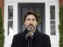 Prime Minister Justin Trudeau speak to the media about the COVID-19 virus outside Rideau Cottage in Ottawa, Friday, Nov. 20, 2020.