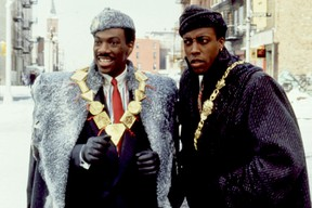 Eddie Murphy and Arsenio Hall in a scene from 1988's Coming to America.
