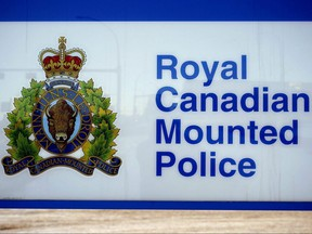 The Royal Canadian Mounted Police logo is seen in Edmonton.