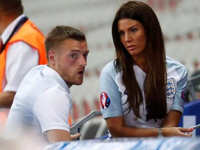 England's Jamie Vardy with wife Rebekah at the end of the EURO 2016 match between England and Iceland at Stade de Nice, in Nice, France, June 16, 2016.