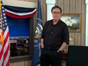 Stephen Colbert is pictured while doing his monologue for his show on Thursday night.