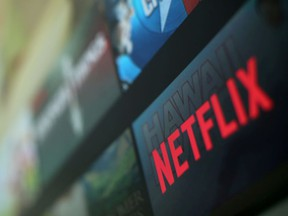 The Netflix logo is pictured on a television in this illustration photograph taken in Encinitas, California, U.S., January 18, 2017.