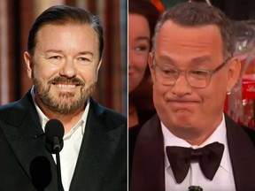 """Ricky Gervais, left, called Tom Hanks """"privileged"""" for his memeable reaction to his Golden Globes speech."""