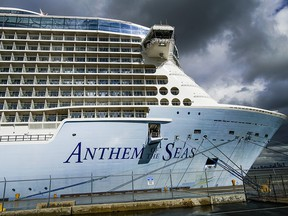 The Royal Caribbean Cruise Ship Anthem of the Seas is docked at Cape Liberty port on February 7, 2020 in Bayonne, New Jersey. At least two dozen Chinese citizens aboard of Royal Caribbean cruise were screened for coronavirus, and four were taken to a nearby hospital.