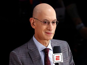 NBA Commissioner Adam Silver is interviewed before Game 3 of the 2020 NBA Finals between the Miami Heat and the Los Angeles Lakers at AdventHealth Arena at ESPN Wide World Of Sports Complex, in Lake Buena Vista, Fla., Oct. 4, 2020.