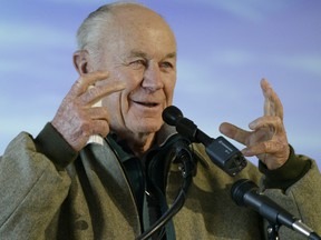 General Chuck Yeager, the first person to break the sound barrier, speaks to a crowd on Dec. 16, 2003 during the weeklong First Flight Centennial Celebration at the Wright Brothers National Memorial in Kill Devil Hills, N.C.