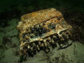 A rare Enigma cipher machine used by the Nazi military during the Second World War is pictured on the seabed of Gelting Bay near Flensburg, Germany Nov. 11, 2020.