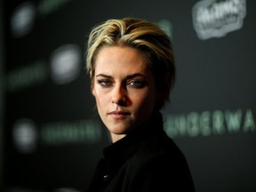 """Cast member Kristen Stewart poses at a screening for the film """"Underwater"""" in Los Angeles, California, U.S., January 7, 2020."""