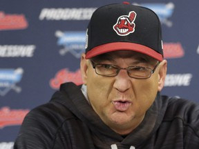 In this Oct. 23, 2016, file photo, Cleveland Indians manager Terry Francona speaks to the media at a team practice for baseball's upcoming World Series against the Chicago Cubs, in Cleveland.
