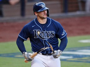 Tampa Bay Rays catcher Mike Zunino breaks his bat after striking out against the Houston Astros at Petco Park.