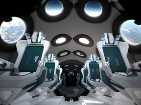 Image courtesy of Virgin Galactic obtained July 28, 2020 shows the Virgin Galactic spaceship cabin design and seats.