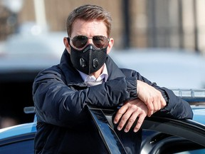 "Actor Tom Cruise is seen on the set of ""Mission Impossible 7"" while filming in Rome, Italy October 13, 2020."