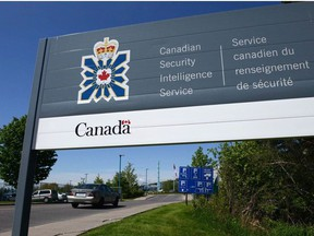 A sign for the Canadian Security Intelligence Service building is shown in Ottawa on May 14, 2013.