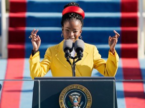 American poet Amanda Gorman reads a poem during the 59th presidential inauguration at the U.S. Capitol in Washington D.C. on Jan. 20, 2021.