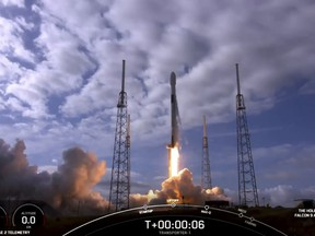 This SpaceX handout video frame grab image obtained on Jan. 24, 2021 shows the SpaceX Falcon 9 liftoff in Cape Canaveral, Fla.