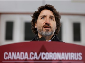 Prime Minister Justin Trudeau attends a news conference at Rideau Cottage as efforts continue to help slow the spread of COVID-19 in Ottawa, Jan. 22, 2021.
