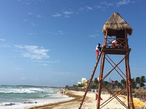 A beach on Mexico's Mayan Riviera south of Cancun.