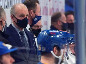 Sabres head coach Ralph Krueger watches play from the bench during the second period against the Rangers at KeyBank Center in Buffalo, N.Y., Jan. 26, 2021.