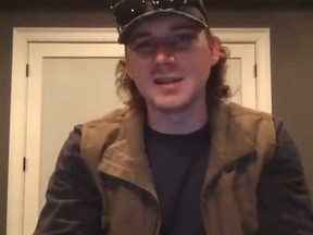 Morgan Wallen is pictured in this screengrab taken from an video he posted on Instagram in which he apologizes for using the n-word.